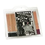 18 Pc Sketch & Drawing Set with Pencils, Charcoals, Erasers