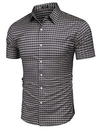 - COOFANDY Men's Plaid Shirt Regular Fit Short Sleeve Classic Windowpane Shirt Grey