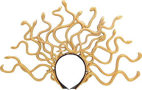 Women Halloween Fancy Dress Party Accessory Gold Twisting Snakes Medusa Headband ()