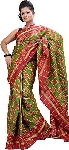 Ikat Sari - Exotic India Green and Red Ikat Wedding Sari Hand-Woven in Pochampally