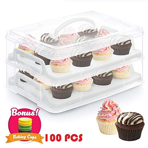 24 Cupcake Carrier 2 Tier Cake Holder Courier Store Up To 2 Large Cakes or 24 Cupcakes Cookies Muffins Dessert, Stacking Cupcake Storage Container with Handle, 100 Paper Baking Cup Included by Cake Carrier
