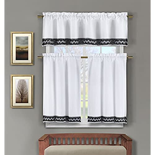 3 Pc Linen Kitchen Window Curtain Set: Crochet And Linen Accent Free Hanger  (Black)