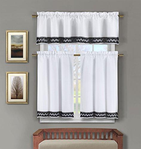 3 Pc Linen Kitchen Window Curtain Set: Crochet and Linen Accent Free Hanger (Black)