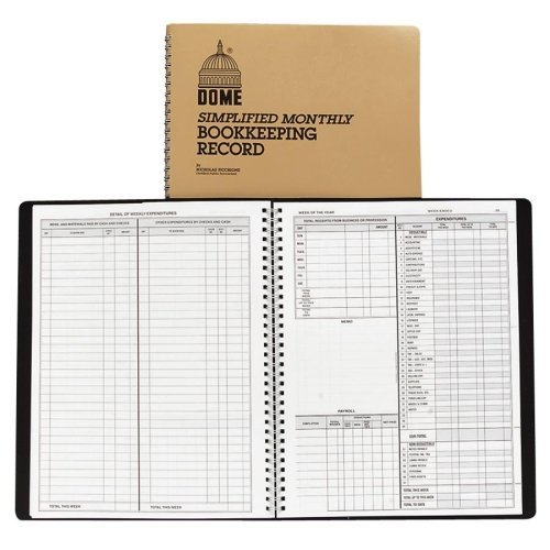 Wholesale CASE of 15 - Dome Publishing Bookkeeping Record Books-Bookkeeping Record Book,Monthly,128 Pages,9