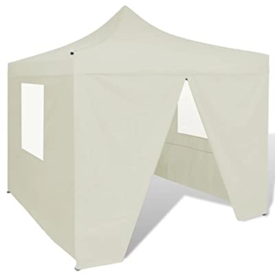 Nishore Portable Pop up Canopy Tent with 4 Walls, Cream, 10' x 10' : Garden & Outdoor