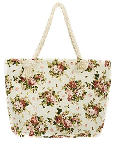 Leisureland Canvas Tote Beach Bag, Rope Handle Water Resistant Shoulder Bag (Vintage Floral Beige) -