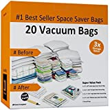 Home-Complete HC-2003 Vacuum Storage Bags-20 Space Saver Bags, 20-Pack, Clear