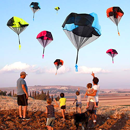 Parachute Toys - 8 Pcs Parachute Army Men + 8 Pcs Parachute Tangle Free Throwing Parachute with Launcher Flying Toys Soldier Skydiver Hand Throw Sports & Outdoor Play Toys for Kids Gifts Party Favor by Dreamfun (Image #1)