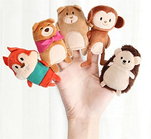 Early Educational Hand Puppet Toy Story Telling Sack Bag Animal Finger Puppets with Story Book (Little Grizzly's Treasure)