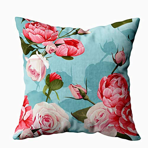 Musesh My Pillow Case Throw Pillows, Peony and Roses Pattern Turquoise Flowered Texture Background for Sofa Home Decorative Pillowcase 16X16Inch Pillow Covers