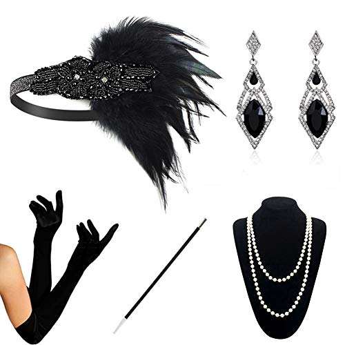 HAMIST 1920s Accessories Set Flapper Costume for Women Headband Gloves Cigarette Holder Necklace (1920Set5-5808) ()