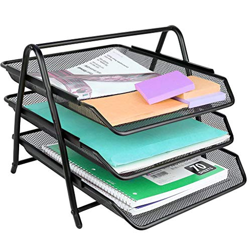 (Libobo3-Tier File Rack Metal Mesh Letter Tray Scratch-Resistant Stackable)