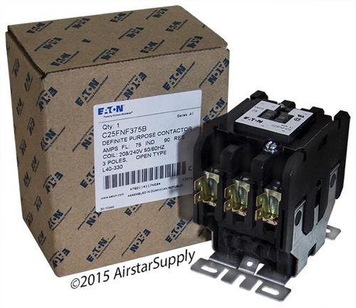 Pole 480vac Contactor Single Coil (Eaton C25FNF375B Definite Purpose Contactor, 50mm, 3 Poles, Box Lugs, Quick Connect Side By Side Terminals, 75A Current Rating, 5 Max HP Single Phase at 115V, 20 Max HP Three Phase at 230V, 50 Max HP Three Phase at 480V, 208-240VAC Coil Voltage)