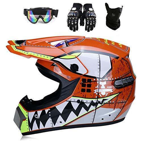 YXCXY-Hai Motocross Helm Motorradhelm Kinderhelm Cross Fullface-Helm Motorradhelm Schutzhelm Set Downhill MTB Quad BMX…