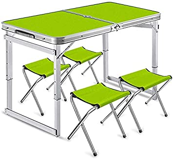 AGWa Mesa de jardín de aluminio portátil que acampa plegable y ...