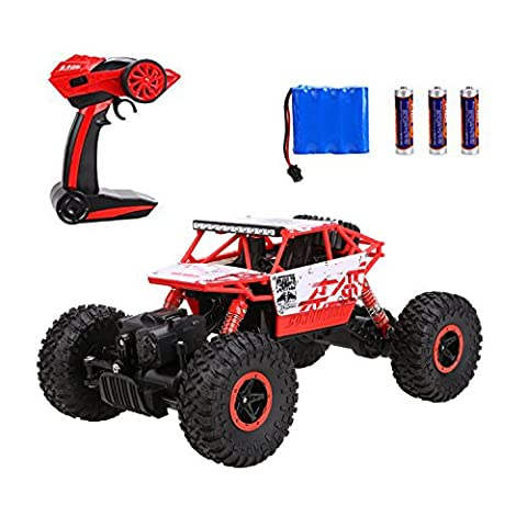 Arshiner RC Rock Crawler Monster Truck 1:18 Scale with Rechargeable Battery 25KM/H High Speed 2.4Ghz 4WD Shock-proof Off-Road Vehicle RC car for Kids - Red Monster Truck