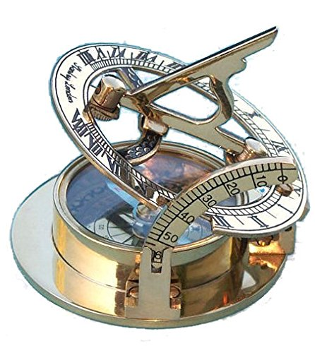 Engraved Brass Pocket Sundial Compass with Leather (Stanley Brass Sundial)