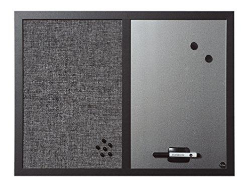 Bi-Silque MX04434168 - Black Shadow Kombitafel, MDF Rahmen Textiloberfläche, 22 mm dicker, hellgrau/silber