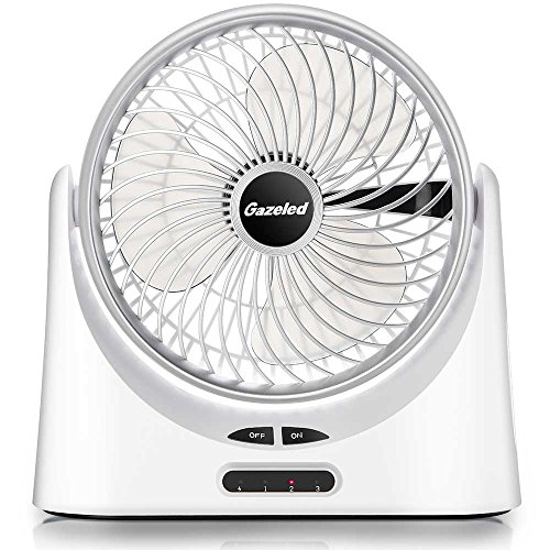 , Portable Fan, USB Desk Fan, 7 Inch Rechargeable Fans, 18650 Battery Fan with 5000mAh Power Bank Function and LED Light, 5-17 Working Hours, 3 Speeds, Quiet Fans For Hurricane ()