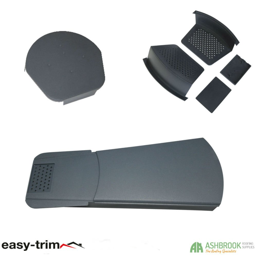 Roof Tile Edge Protection Black Dry Fix 10 Pack 2 Starter Kits /& 1 Half Round Ridge Cap Easy Trim Universal Dry Verge 1 Gable System Kit