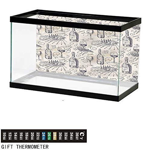 Suchashome Fish Tank Backdrop Winery,Hand-Drawn Winemaking Sketch,Aquarium Background,36