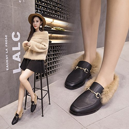 Flat Shoes Metal round Casual All Head Buckle Fashion Match black Shoes EUR37 I8aqwS8d