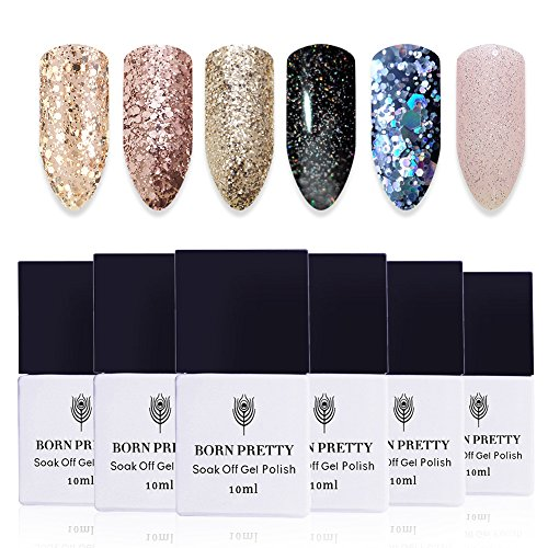 BORN PRETTY 10ml Nail Art UV Gel Polish Shinning Glitter Spa