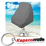 Boat Seat Cover Helm/Helmsman / Bucket Single Seat Storage Cover - 21''L x 24''W x 24''H - Gray Heavy Duty Water, Mildew, and UV Resistant Thick Polyester Fabric + KapscoMoto Keychain