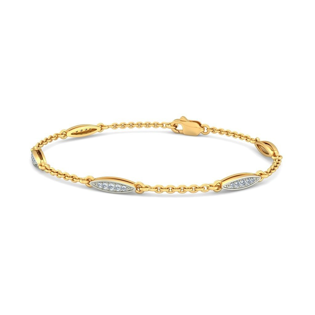identification-bracelets Size 0.21 cttw Round-Cut-Diamond 18K Yellow Gold 9.75 inches IJ  SI
