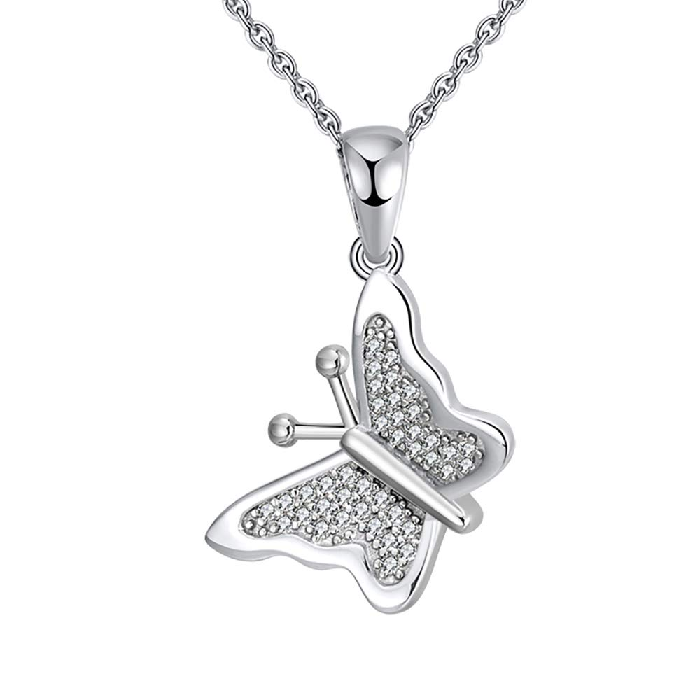 Ginger Lyne Collection Butterfly Sterling Silver CZ Chain Pendant Necklace