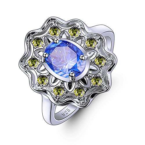 Veunora 925 Sterling Silver 6x8mm Tanzanite Filled Floral Cockatil Ring Size 9 ()