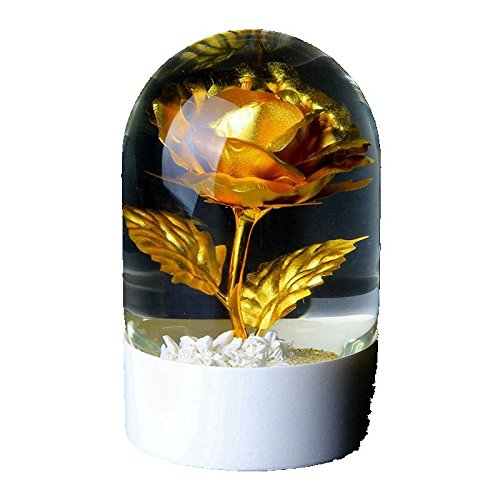 FYYDNZA Wedding Gifts Gilt Rose Crystal Ball Gold Foil Crystal Ornaments Valentine'S Day Wedding Girlfriend,24K Blue