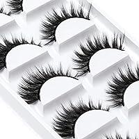 ICYCHEER Falska ögonfransar, 5-par 6D-ögonfransar, konstgjorda, naturliga, svarta, långa rena, handgjorda med osynligt…