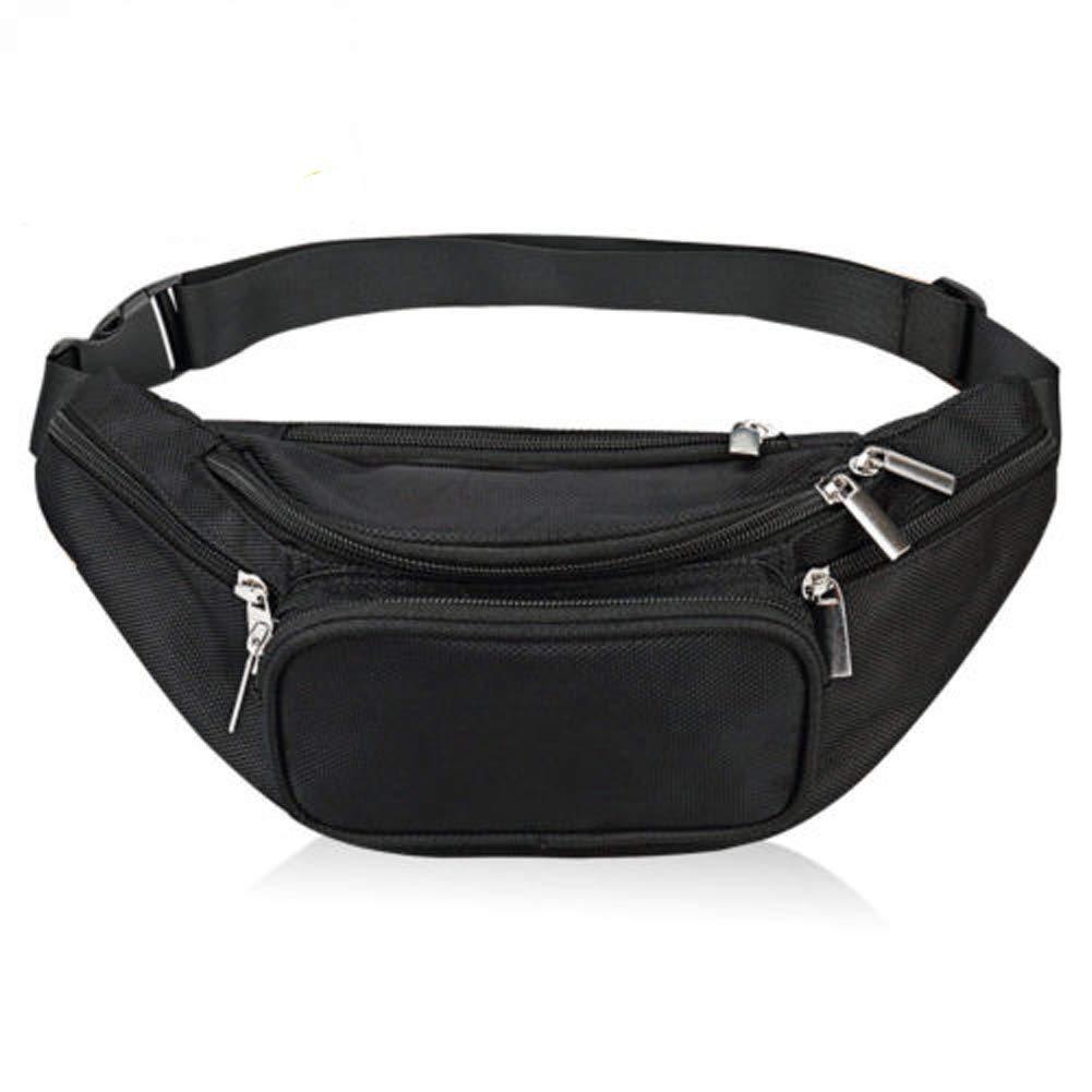 VAQM Fanny Pack Black Waist Bag for Men Women Nylon Waist Pack Multi Pocket Belt Pack for Yoga Workout Gym Workout Sport Travel Running (Fanny Pack Black)