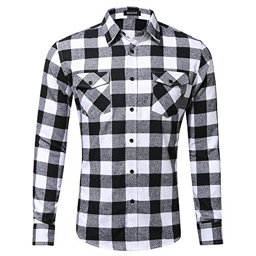 MCEDAR Men's Plaid Flannel Shirts-Long Sleeve Casual Button Down Slim Fit Outfit for Camp Hanging Out or Work (X-Large, White)