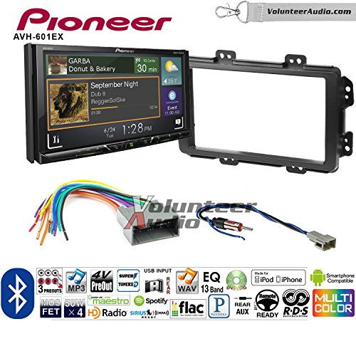 Volunteer Audio Pioneer AVH-601EX Double Din Radio Install Kit with CD/DVD Player Bluetooth USB/AUX Fits 2013-2014 Honda Civic (With Factory Nav)