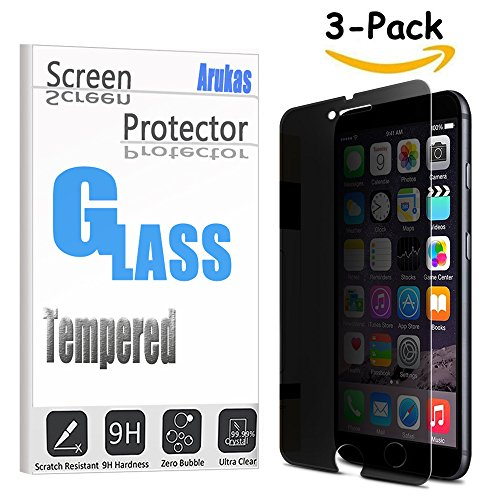 iPhone 8 Plus / 7 Plus Screen Protector, Arukas Anti-spy Privacy No Problem with Brightness Tempered Glass Screen Cover for iPhone 8 Plus / 7 Plus, 9H Hardness Anti-Scratch Bubble Free (3 pack)