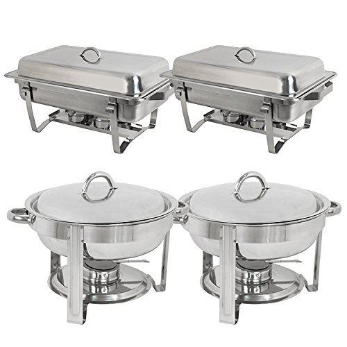 (Super Deal Stainless Steel Combo - 2 Round Chafing Dish + 2 Rectangular Chafers)