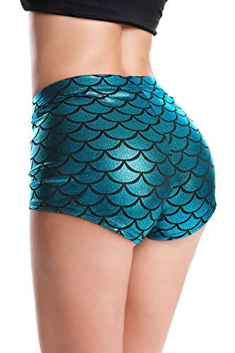 RIKKI Women's Shiny Mermaid Fish Scale Hot Pants Mini Shorts (Large, Peacock)