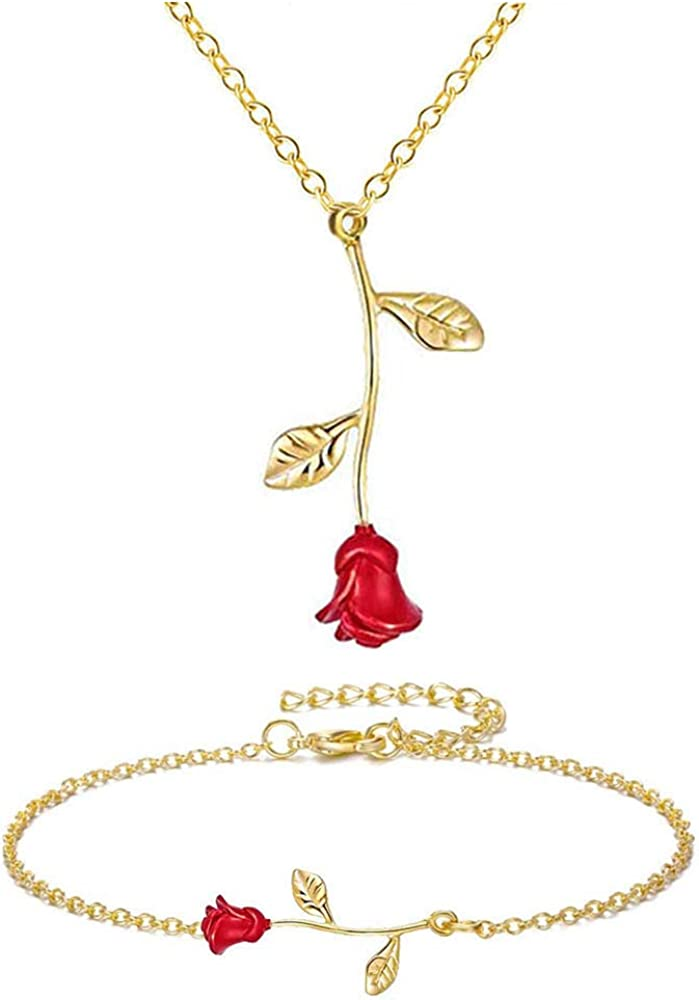Girls Red Rose Necklace