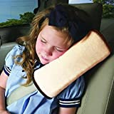 AutoLover Children Car Seat Belts Shoulder Protection Back Cushion Soft Neck Sleep Pillow Vehicle Headrest Harness Pad(OFF WHITE)