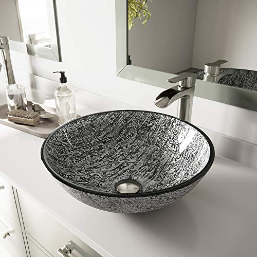 VIGO Titanium Glass Vessel Bathroom Sink and Niko Vessel Faucet with Pop Up, Brushed Nickel