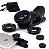 Universal 3 in 1 Camera Lens Kit 180 Fish Eye Lens + 2in1 Micro/Wide Angle Lens for iPhone 6 6s 4 4s 5 5s,samsung Galaxy s6 s6 edge note 3 2, HTC, Nexus, Nokia, Blackberry Moblie Phones Black