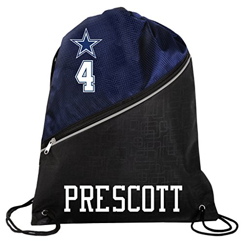 FOCO Dallas Cowboys Official High End Diagonal Zipper Drawstring Backpack Gym Bag - Dak Prescott #4 by FOCO