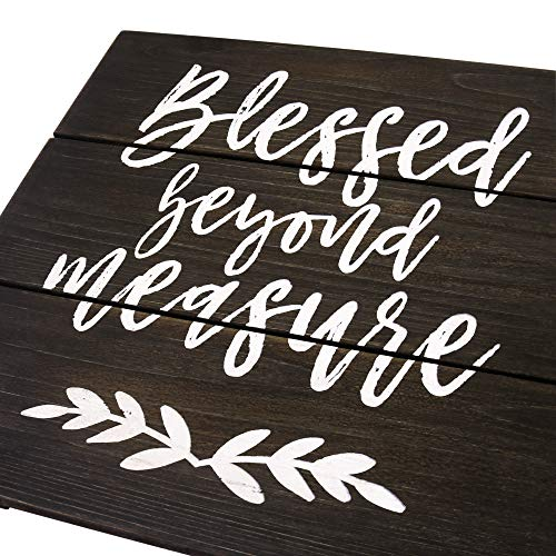 TERESA'S COLLECTIONS Blessed Wooden Sign for Wall,12x12 inches Rustic Blessed Sign, Blessed Beyond Measure Hanging Wood Sign for Home Wall Decor