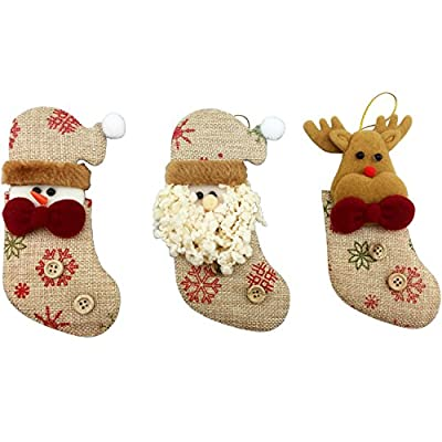 Rustic Christmas Ornaments - Perfect Soft Hanging Xmas Ornaments and Stocking Stuffers - Set of 3 - Old Timey, Cute and Unique
