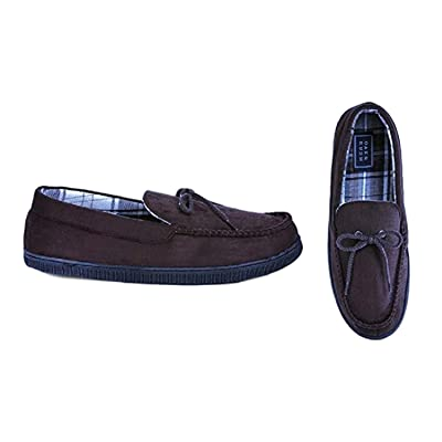 Oak & Rush Men's Moccasin Slippers - Dark Brown Coffee Size 10 | Slippers