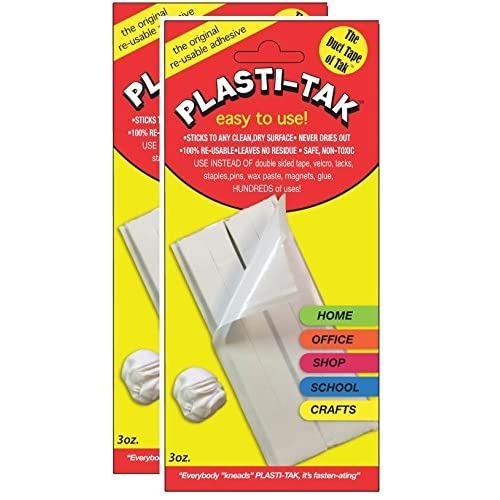 "Plasti-Tak The Original Re-usable Adhesive Putty- ""The Duck Tape of Tak"" Never Dries Out, Hundres of Uses! (2 Pack)"