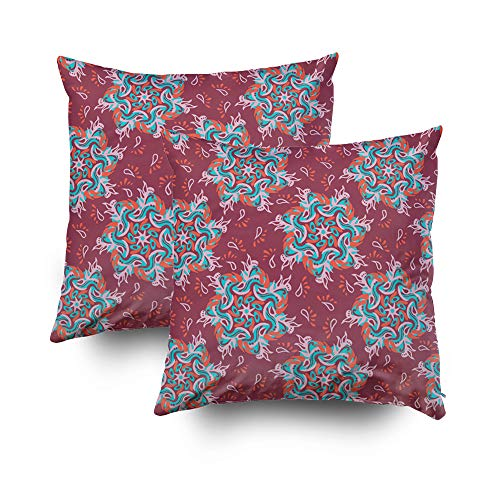 Musesh Pack of 2 paisley mandala pattern Cushions Case Throw Pillow Cover Sofa Home Decorative Pillowslip Gift Ideas Household Pillowcase Zippered Pillow Covers 20X20Inch