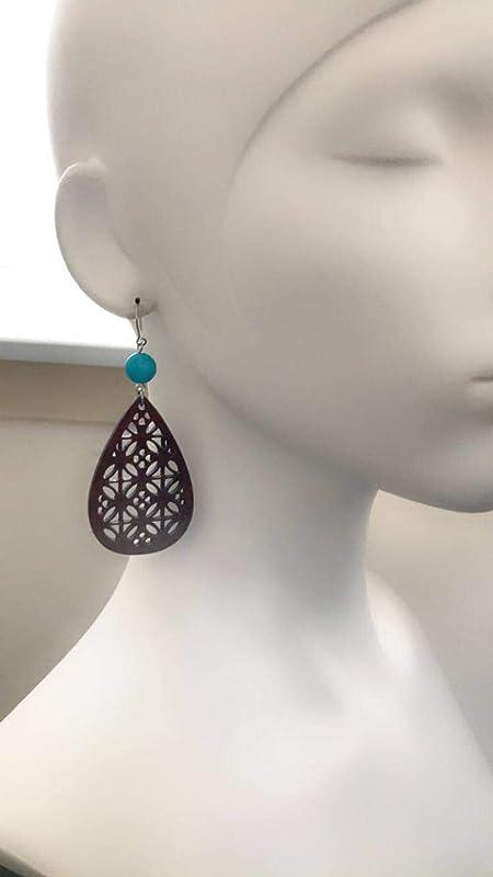 Lightweight Laser Cut Wood Jewelry for Women Gift for Her Beige Teardrop Wooden Earrings with Turquoise Stones Boho Dangle Earrings